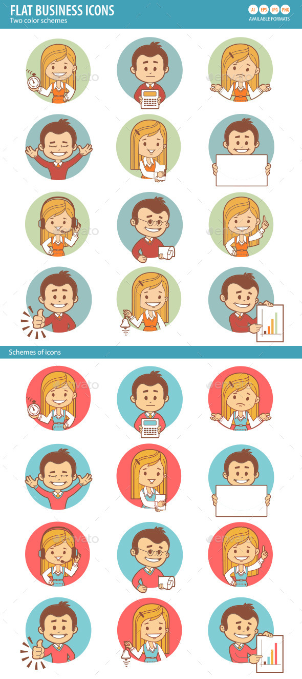 GraphicRiver Flat Icons with Businessman and Businesswoman 10443949