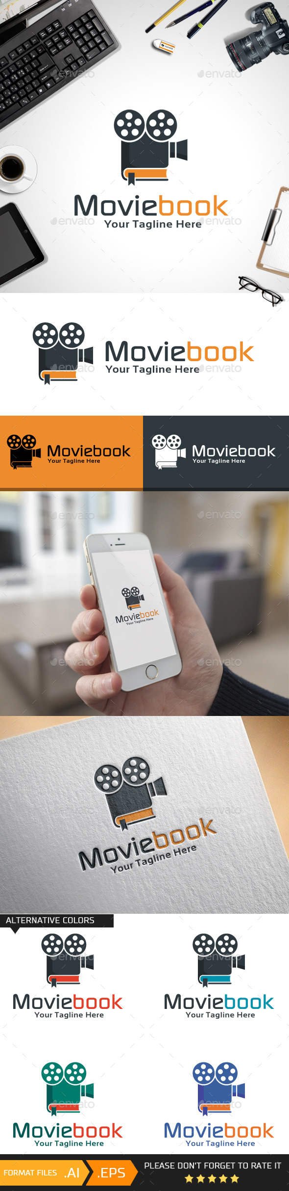 Movie Book Logo Template