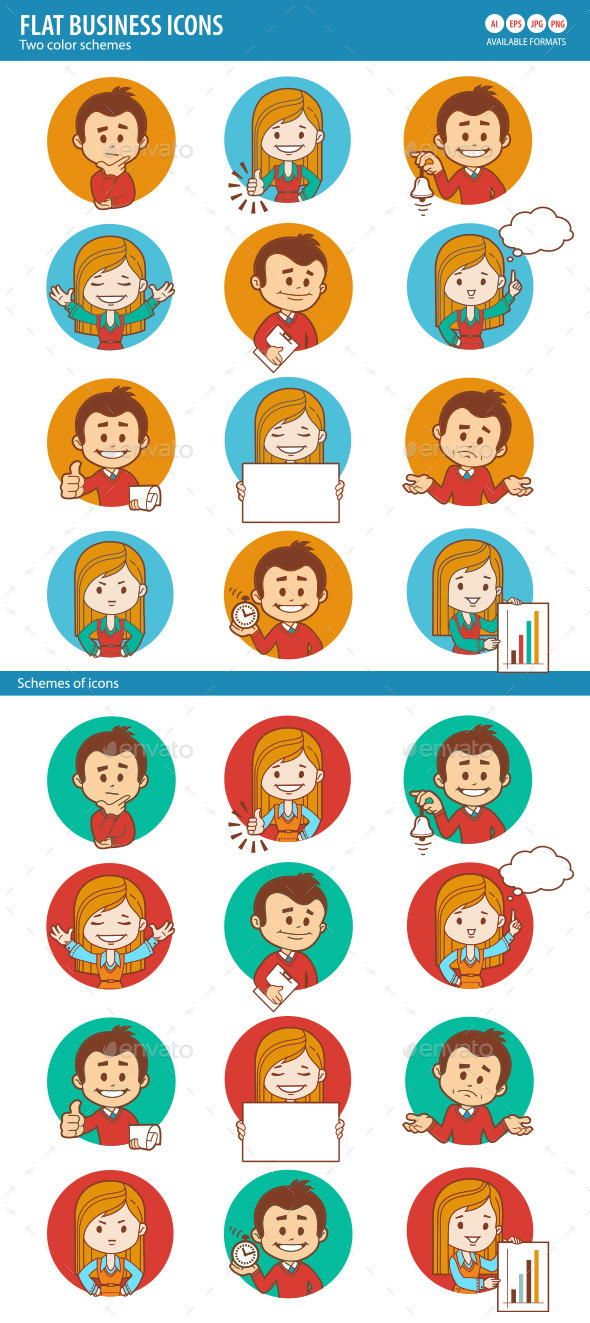 GraphicRiver People Icons with Businessman and Businesswoman 10443985