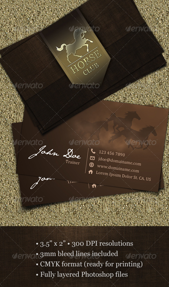 Horse Club Business Card - Industry Specific Business Cards
