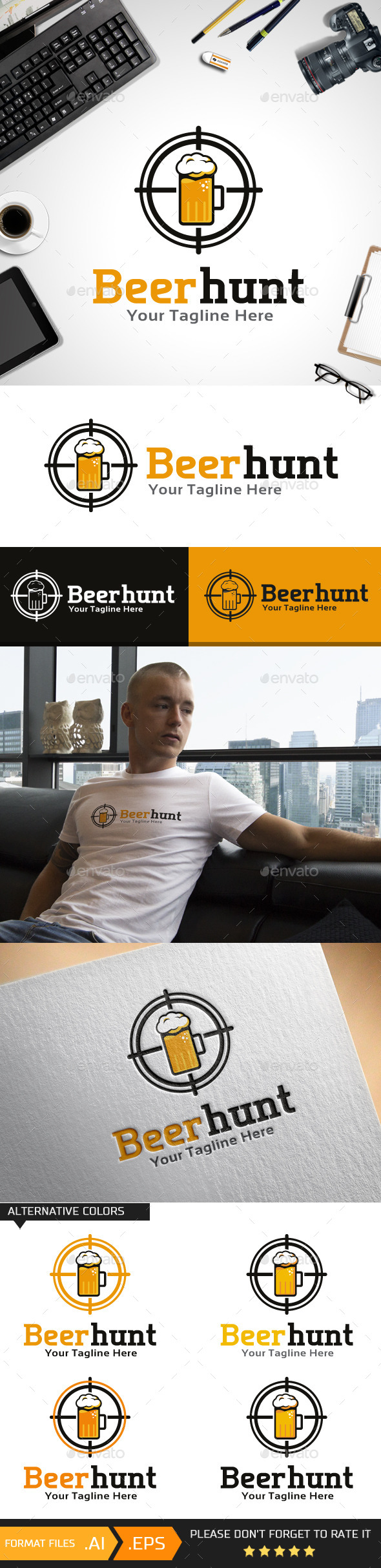 GraphicRiver Beer Hunt logo template 10444073