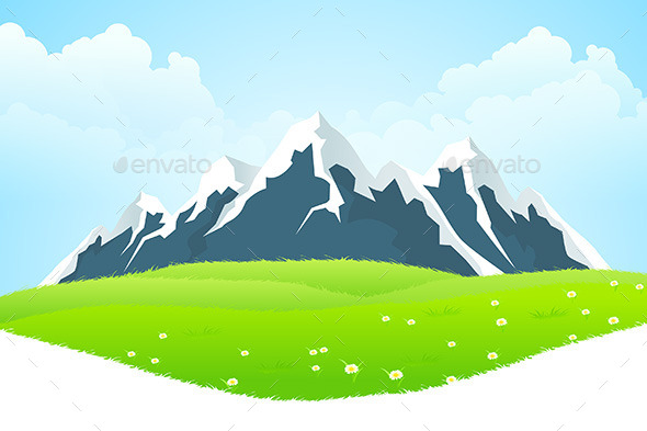 GraphicRiver Green Landscape with Mountains 10444493