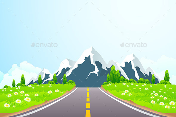 GraphicRiver Green Landscape with Road and Mountains 10444494