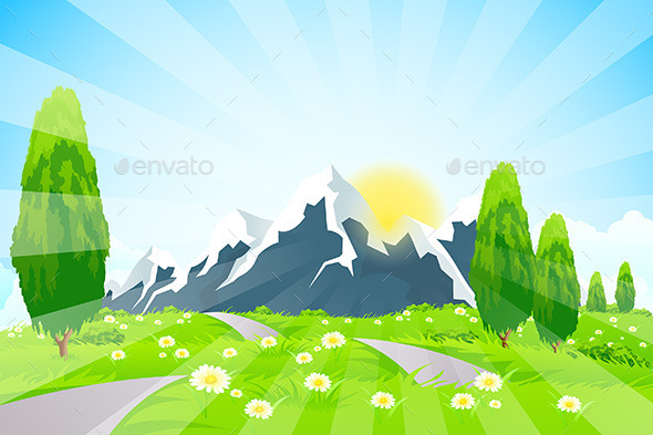 GraphicRiver Green Landscape with Road and Mountains 10444496