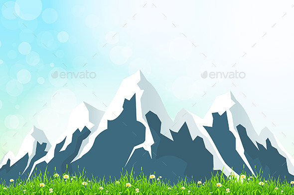 GraphicRiver Green Landscape with Mountains 10444502