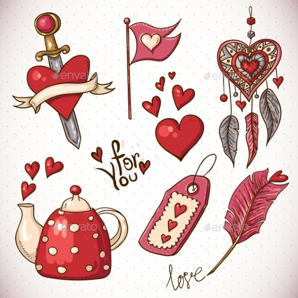 GraphicRiver Valentines Day Doodle Set 10444638