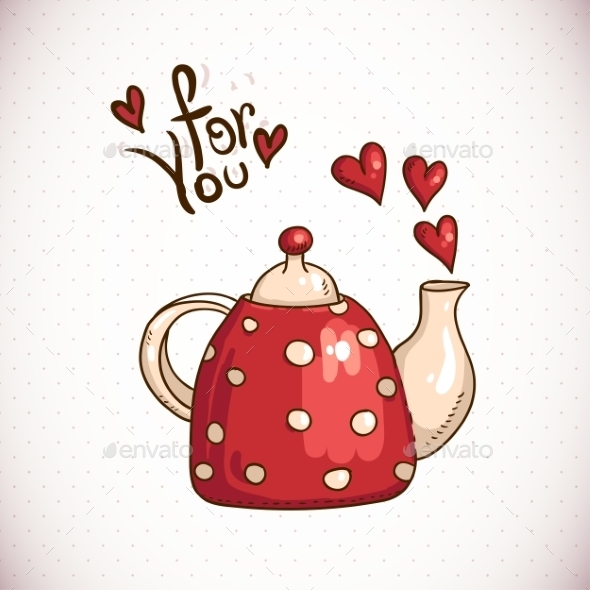 GraphicRiver Teapot and Hearts 10444640