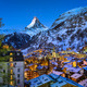 Aerial View on Zermatt Valley and Matterhorn Peak at Dawn, Switz - PhotoDune Item for Sale