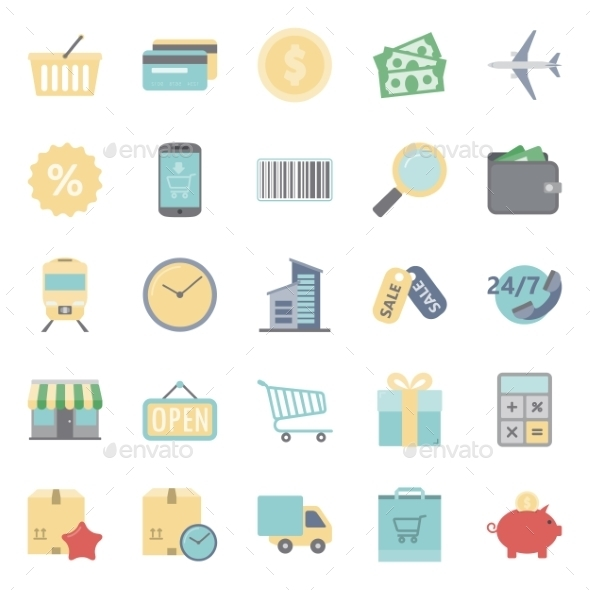GraphicRiver Sales and Shopping Flat Icons Set 10444708
