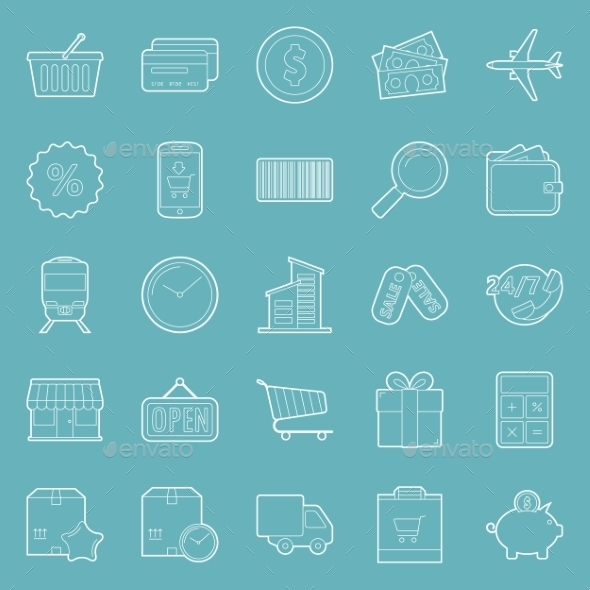 GraphicRiver Sales and Shopping Thin Lines Icons Set 10444710