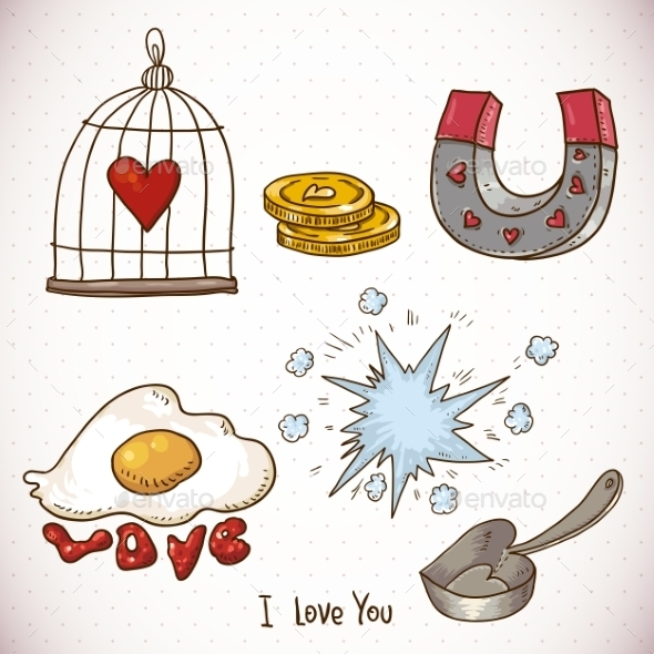 GraphicRiver Valentines Day Doodle Set 10444735