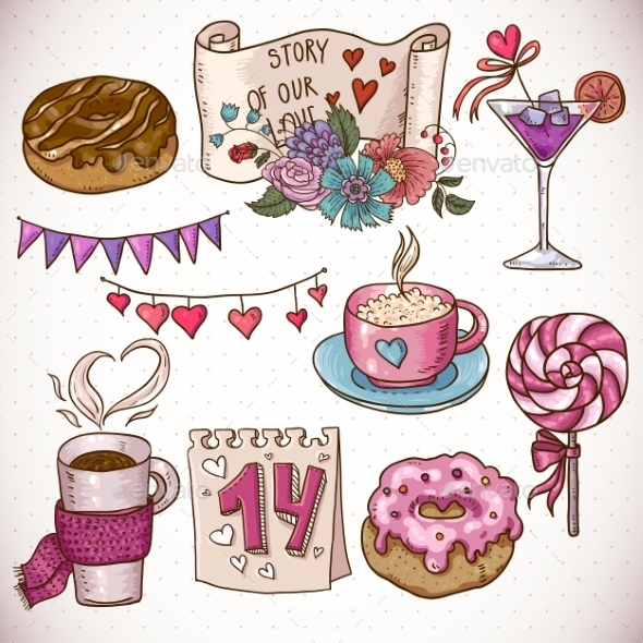 GraphicRiver Valentines Day and Wedding Doodle Set 10444777