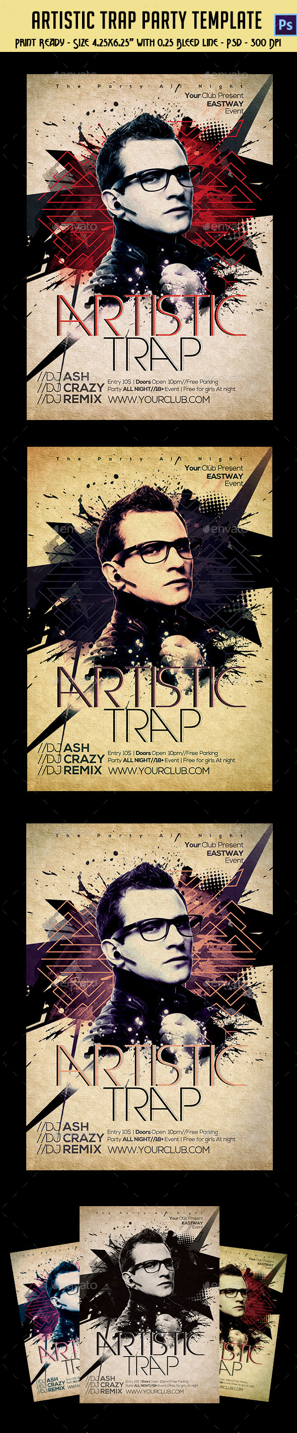 GraphicRiver Artistic Trap Party Flyer 10444896