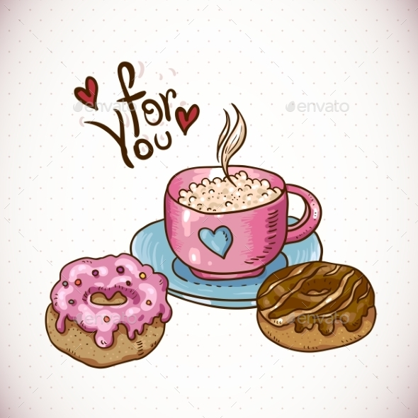 GraphicRiver Greeting Card with a Cup of Coffee and Donuts 10444899
