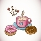 Greeting Card with a Cup of Coffee and Donuts - GraphicRiver Item for Sale
