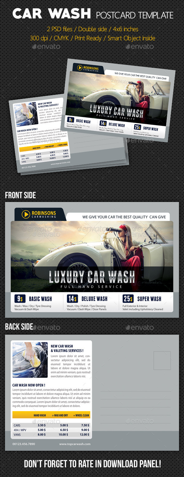 GraphicRiver Car Wash Postcard Template V03 10444948