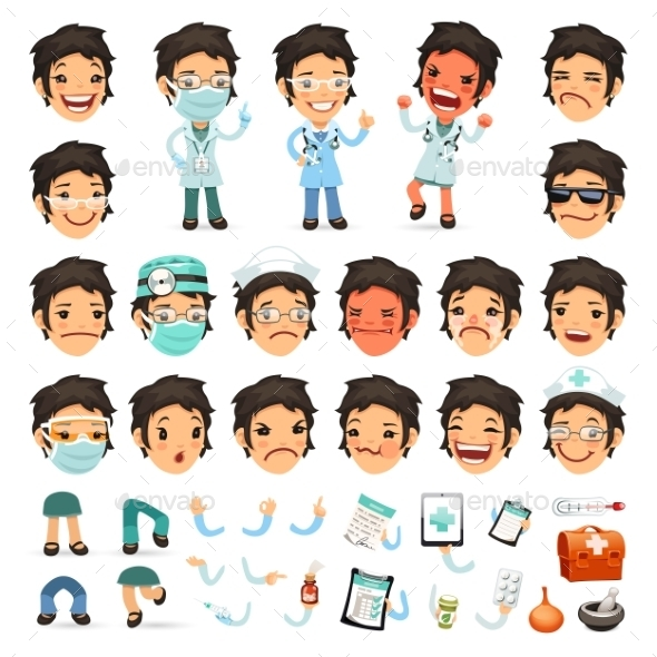 GraphicRiver Set of Cartoon Woman Doctor Characters 10446325