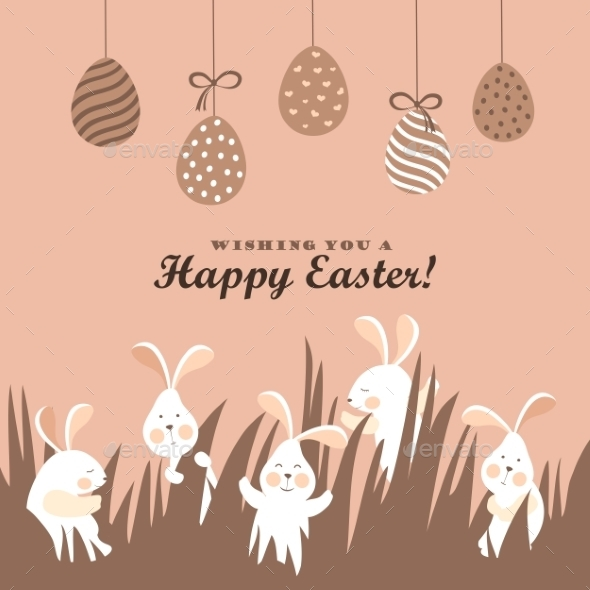 GraphicRiver Easter Bunnies and Easter Eggs 10447215