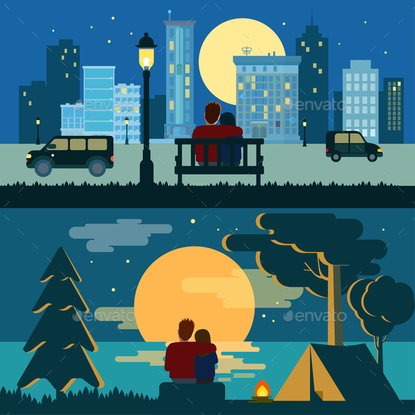 Couple Dating Night Landscapes