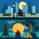 Couple Dating Night Landscapes - GraphicRiver Item for Sale