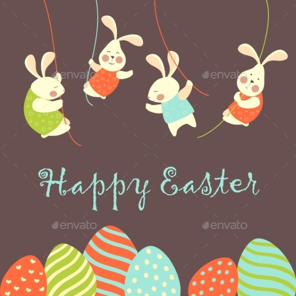GraphicRiver Easter Bunnies and Easter Eggs 10447257
