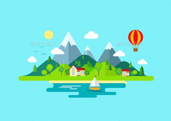 GraphicRiver Mountains Island Landscape 10447294