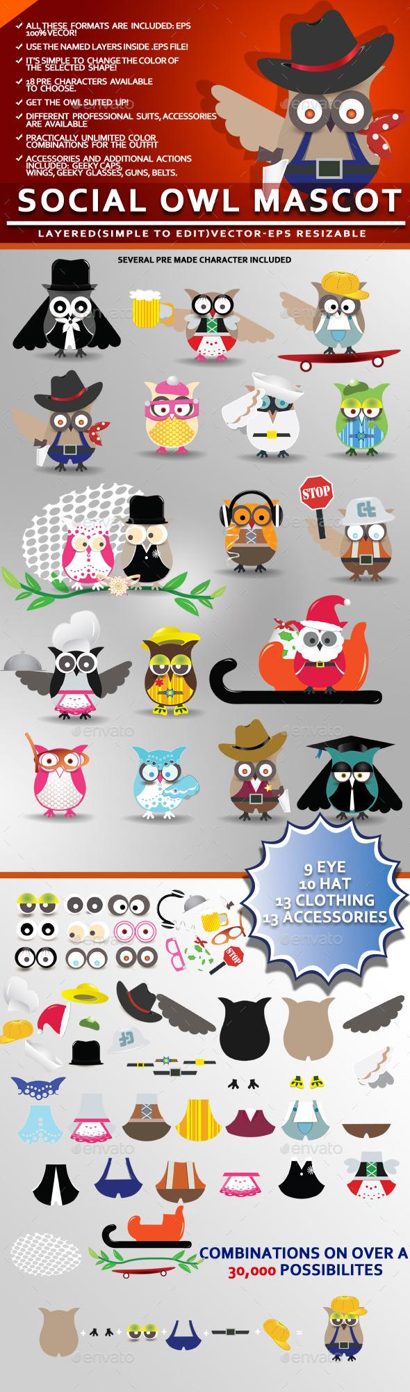 GraphicRiver Social Owl Mascot 10447469