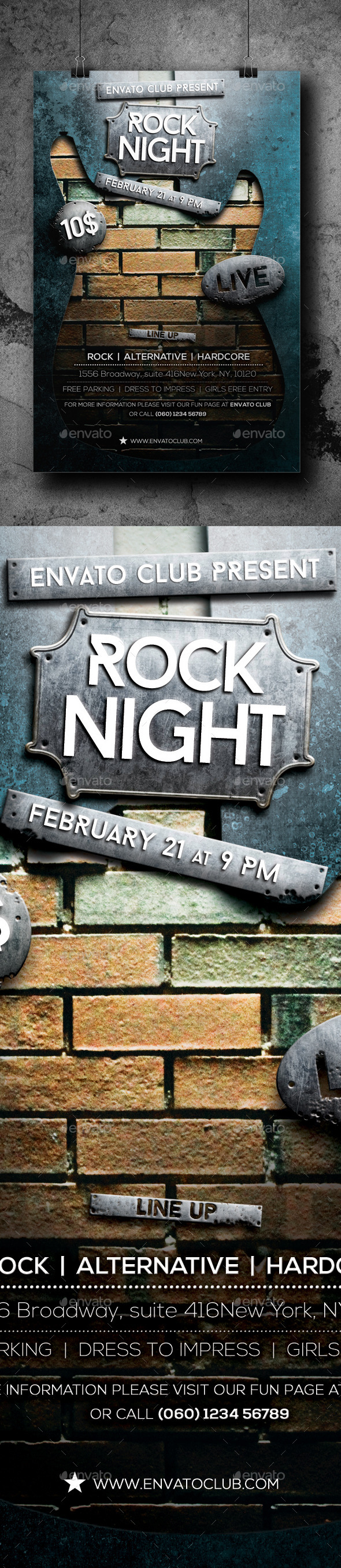 GraphicRiver Rock Night Flyer 10398588