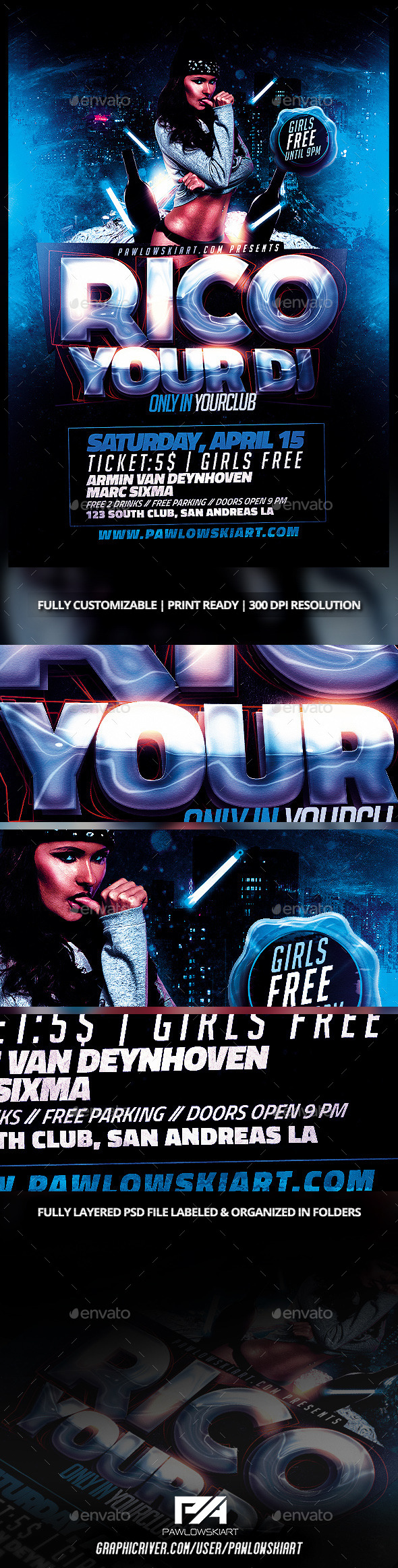 GraphicRiver Electro House DJ Flyer Template 10448680