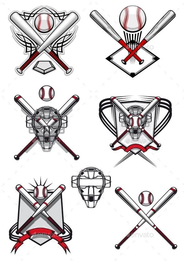 GraphicRiver Baseball Symbols with Heraldry Elements 10448730