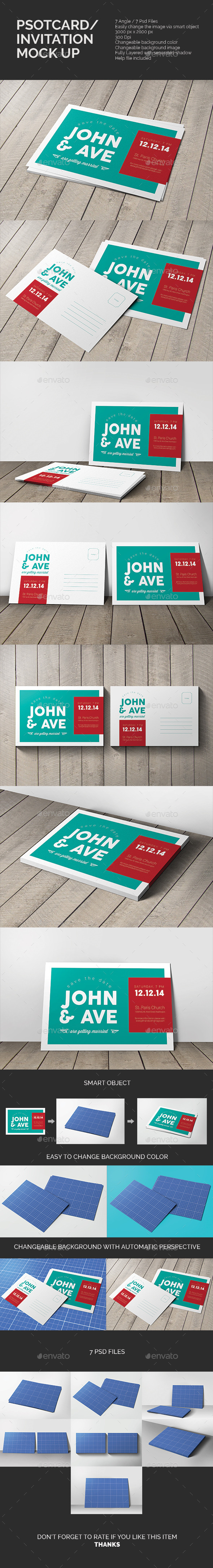 GraphicRiver Postcard & Invitation Mock-up 10448763