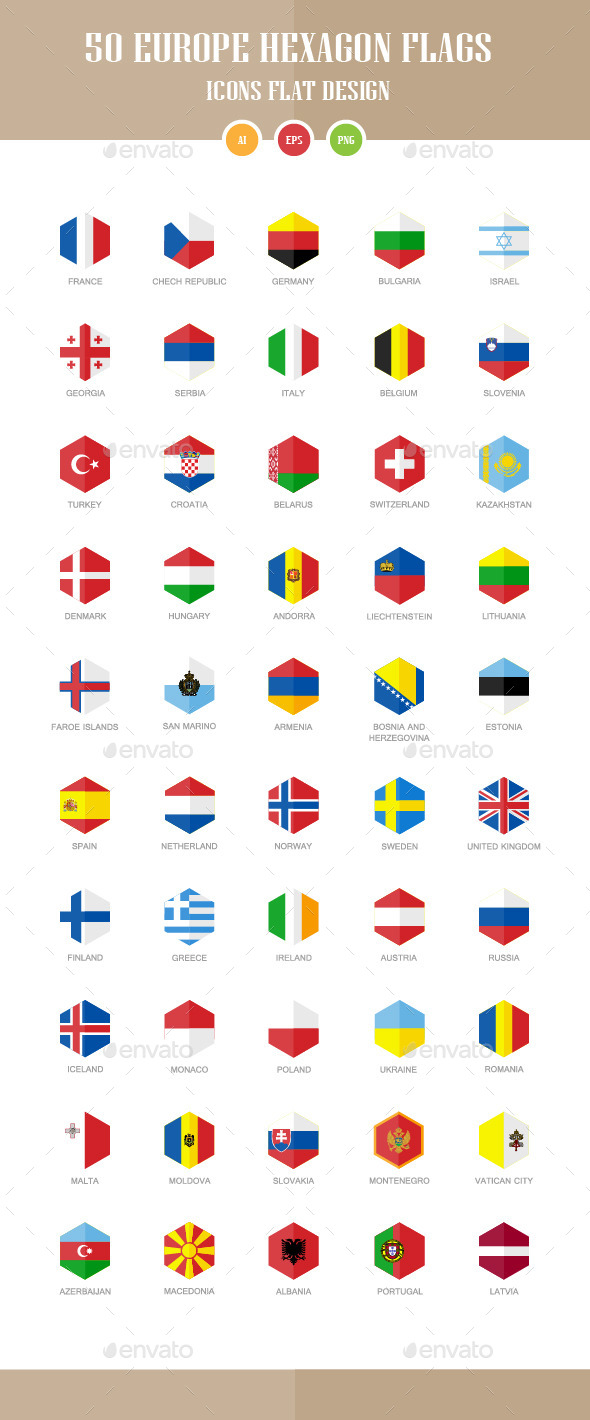 GraphicRiver 50 Europe Flag Icons Hexagon Flat Design 10448996