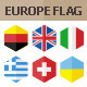 50 Europe Flag Icons. Hexagon Flat Design