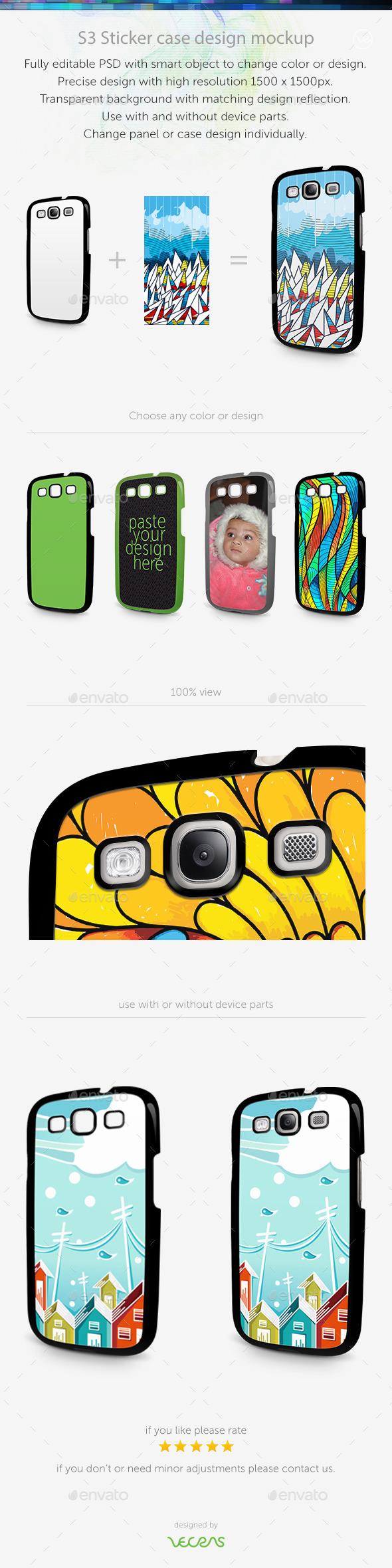 GraphicRiver S3 Sticker Case Design Mockup 10449158