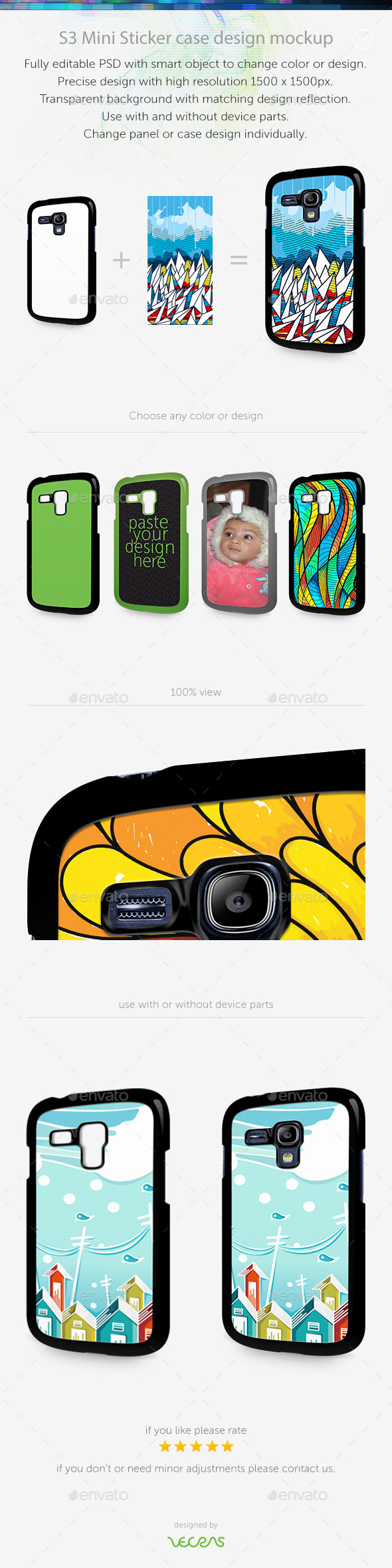 GraphicRiver S3 Mini Sticker Case Design Mockup 10449370