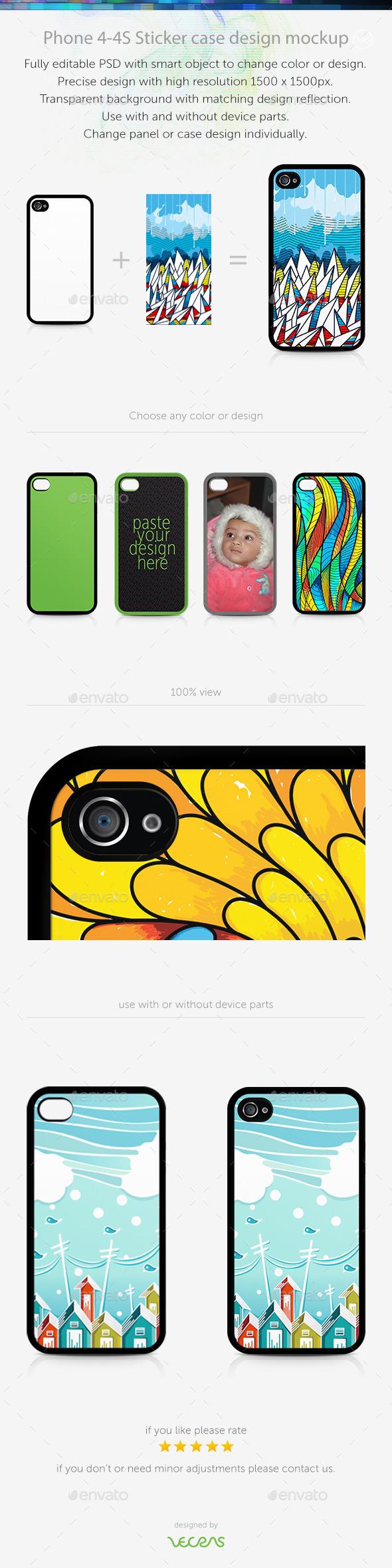 GraphicRiver Phone 4-4S Sticker Case Design Mockup 10449464