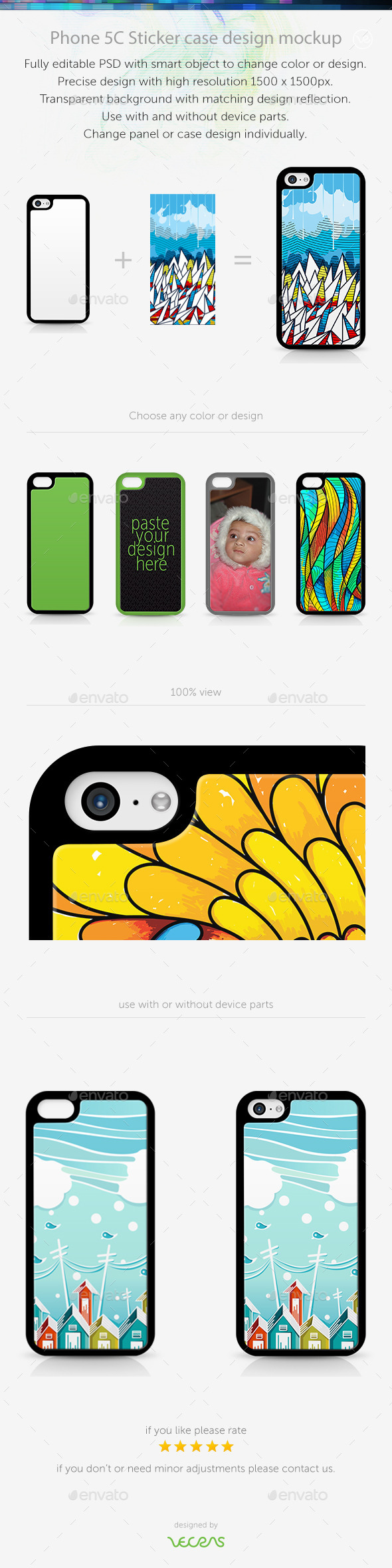GraphicRiver Phone 5C Sticker Case Design Mockup 10449536