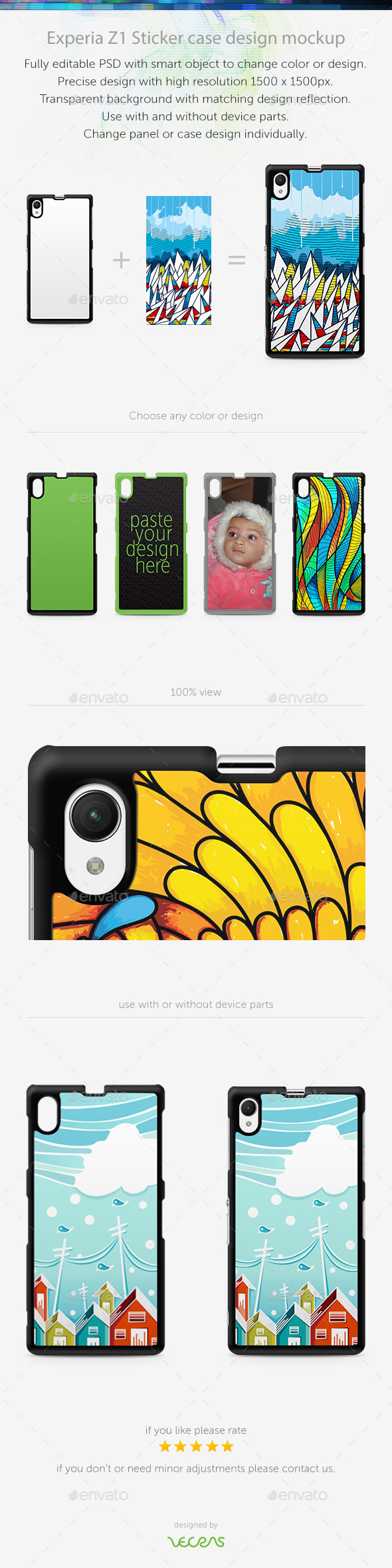 GraphicRiver Experia Z1 Sticker Case Design Mockup 10449559
