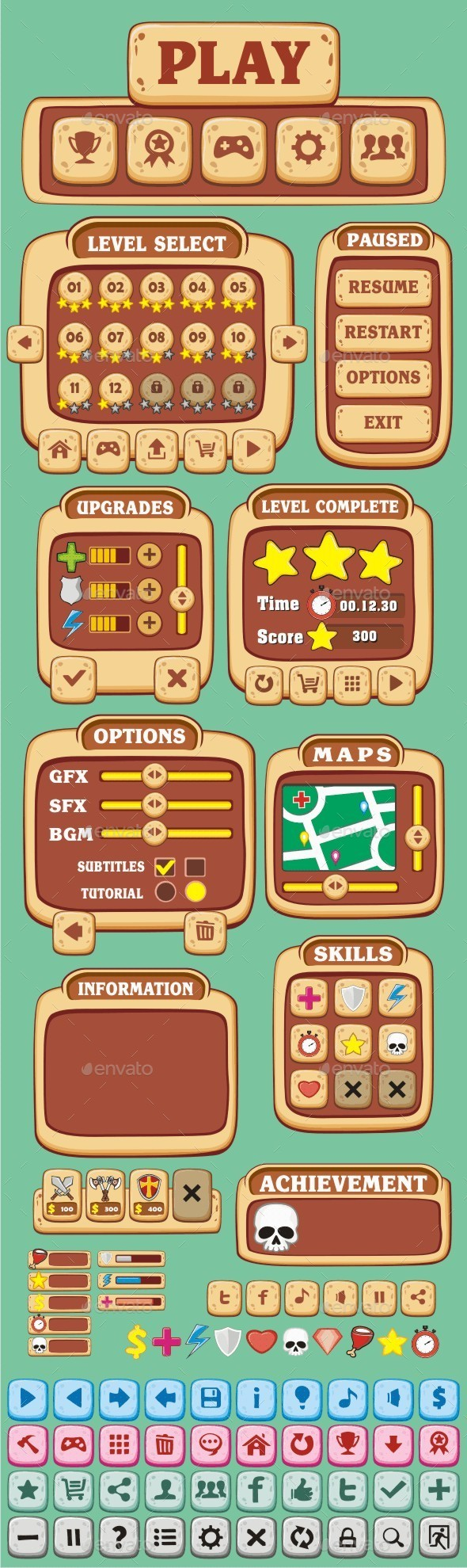 GraphicRiver cartoon game gui pack 03 10449752