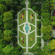 Flying Above Symmetrical Park - VideoHive Item for Sale