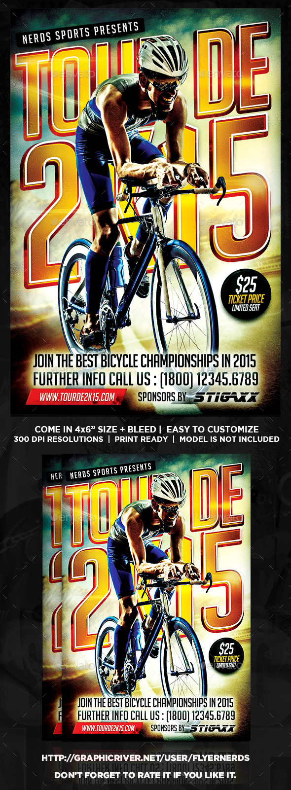GraphicRiver Tour De 2K15 Bicycle Championships Sports Flyer 10449925