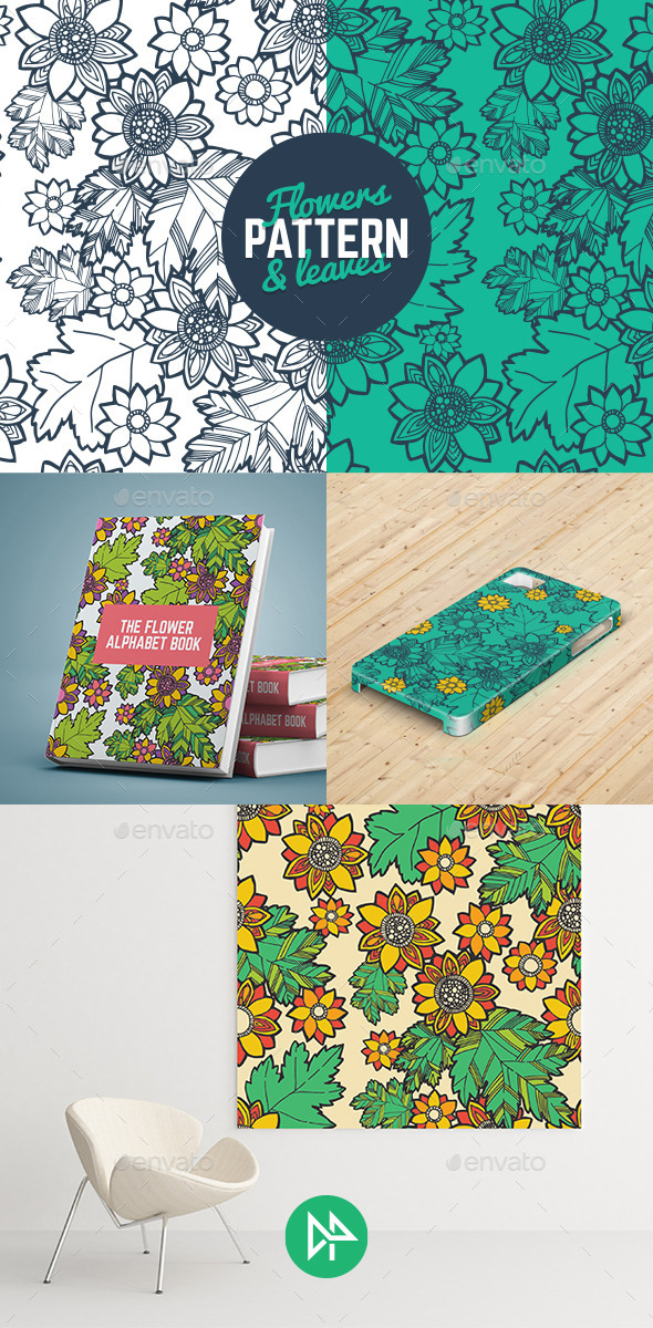 GraphicRiver Flowers & Leaves Pattern 10450043