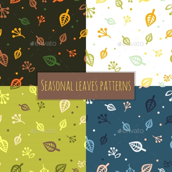 GraphicRiver Leaves Pattern 4 Seasons 10450190