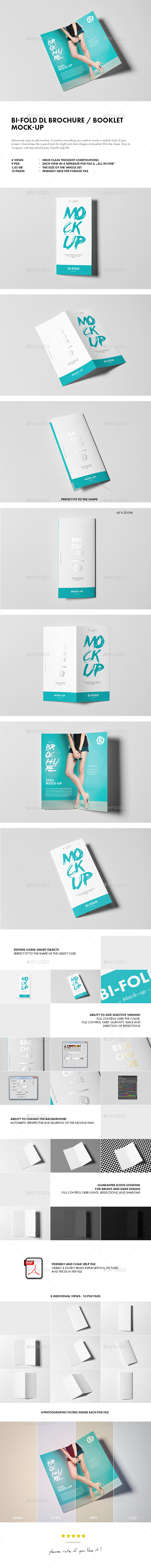 GraphicRiver Bi-Fold DL Brochure Mock-up 10450252