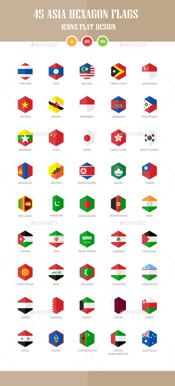 GraphicRiver 45 Asia Flag Icons Hexagon Flat Design 10450470