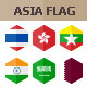 45 Asia Flag Icons. Hexagon Flat Design - GraphicRiver Item for Sale