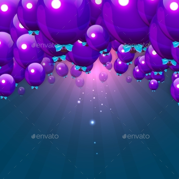 GraphicRiver Party Purple Balloons Background for your Text 10450908