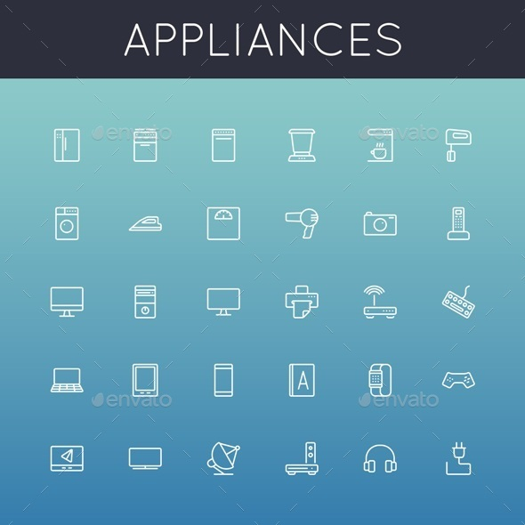 GraphicRiver Vector Appliances Line Icons 10451373