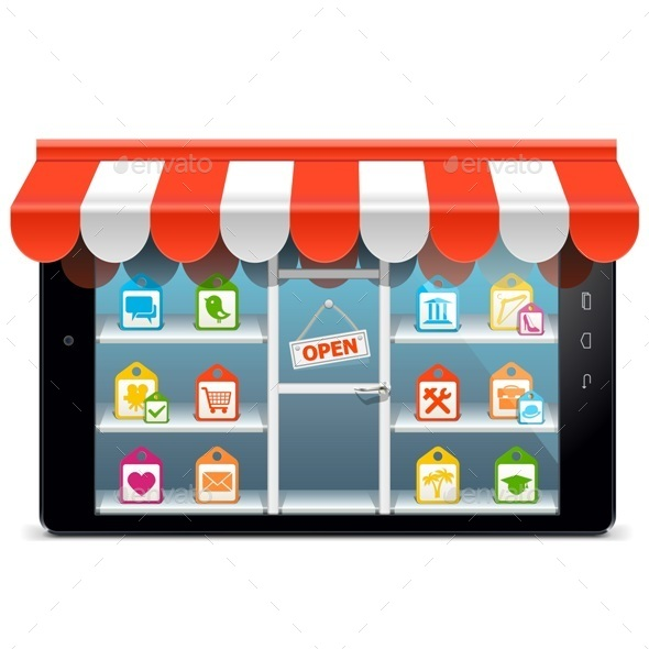 GraphicRiver Vector Tablet PC with Supermarket Concept 10451406