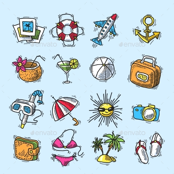 GraphicRiver Summer Vacation Icon Set 10451411